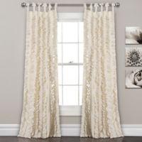 Lush Decor Sophia Ruffle 84-Inch Tie Top Window Curtain Panel Pair in Ivory