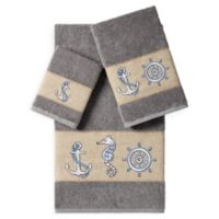 Linum Home Textiles Easton 3-Piece Embellished Bath Towel Set in Dark Grey