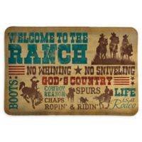 """Laural Home® Welcome to the Ranch 20"""" x 30"""" Memory Foam Bath Mat in Brown"""