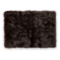 """Nordic 24"""" x 36"""" Faux Fur Bath Rug in Black"""