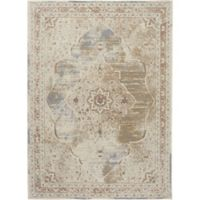 Shabby Chic Pastel 3'11 x 5'2 Power-Loomed Area Rug in Beige/Cream