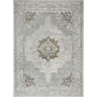 Shabby Chic Pastel 3'11 x 5'2 Power-Loomed Area Rug in Silver/Ivory