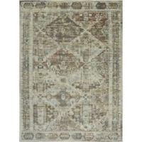 Shabby Chic Pastel 3'11 x 5'2 Power-Loomed Area Rug in Grey/Beige