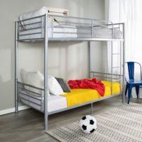 Walker Edison Sunset Twin Bunk Beds in Silver