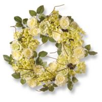 National Tree Company® 24-Inch Artificial Cream Rose Wreath