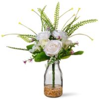 National Tree Company 13-Inch Artifical Rose Arrangement in White with Glass Vase