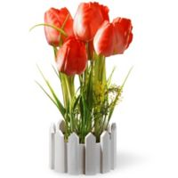 National Tree Company 11-Inch Artifical Potted Tulips in Red with Fenced Plastic Pot