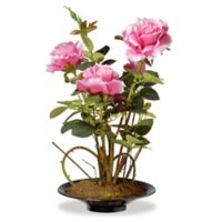 National Tree Company 10-Inch Artificial Orchid Arrangement in Pink with Black Planter