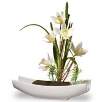 National Tree Company 11-Inch Artificial Orchid Arrangement in Yellow with White Planter