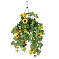 National Tree Company 12-Inch Artificial Sunflower Hanging Plant in Wire Basket