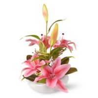 National Tree Company 18-Inch Artificial Lily Arrangement in Pink with White Planter