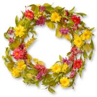 National Tree Company® 20-Inch Daisy Artificial Wreath in Yellow/Pink