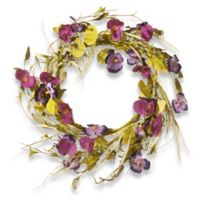 National Tree Company® 22-Inch Poppy and Pansy Artificial Wreath in Purple