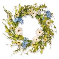 National Tree Company® 20-Inch Hydrangea and Daisy Artificial Wreath in Blue