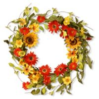 National Tree Company® 20-Inch Sunflower Artificial Wreath in Orange
