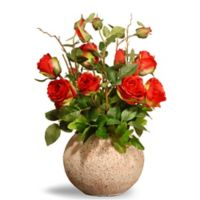 National Tree Company® 18-Inch Artificial Roses with Ceramic Pot