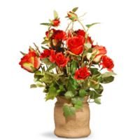 National Tree Company® 16-Inch Artificial Roses with Ceramic Pot