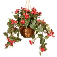 National Tree Company 13-Inch Artificial Hanging Basket in Red with Brown Wicker Basket