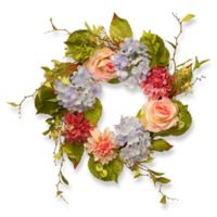 National Tree Company® 23-Inch Hydrangea, Rose and Dahlia Artificial Wreath in Pink Multi