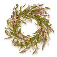 National Tree Company® 22-Inch Spring Flowers Artificial Wreath in Pink