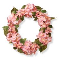National Tree Company 24-Inch Hydrangea Artificial Wreath in Pink