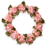 National Tree Company 32-Inch Hydrangea Artificial Wreath in Pink