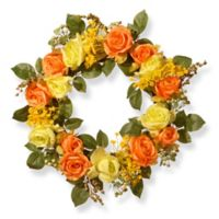 National Tree Company 20-Inch Spring Rose Artificial Wreath