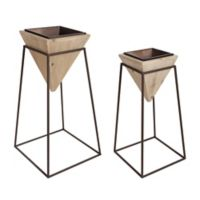 Kate And Laurel Theah Indoor Planter Stands in Natural/Bronze (Set of 2)