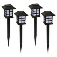 LumaBase Ground-Stake LED Solar Lanterns in Black (Set of 4)