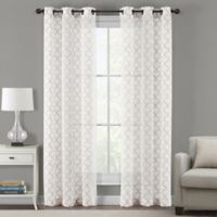 Sydney Embroidered Ogee 95-Inch Grommet Sheer Window Curtain Panel Pair in Linen