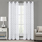 Sydney Embroidered Ogee 84-Inch Grommet Sheer Window Curtain Panel Pair in Steel