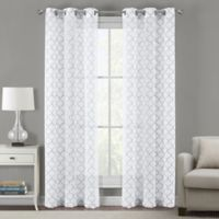 Sydney Embroidered Ogee 108-Inch Grommet Sheer Window Curtain Panel Pair in Steel