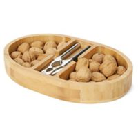 Mind Reader Bamboo Nutcracker Tray with Metal Nutcracker in Brown