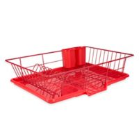 Home Basics® 3-Piece Dish Drainer in Red