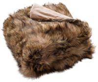 Golden Noir Faux Fur Throw Blanket in Brown/Champagne