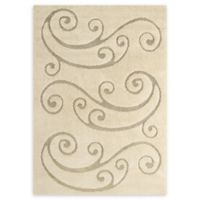 Modway Sprout Scrolling Vine 8' x 10' Area Rug in Beige/Cream