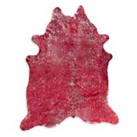 Natural Rugs Scotland Cowhide 5' x 7' Area Rug in Red/Silver