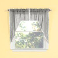 Andrea Kitchen Window Swag in Silver