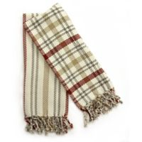 Fringed 2-Pack Kitchen Towel in Ivory/Burgundy