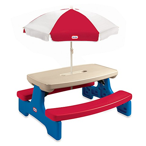 Little Tikes Easy Store Picnic Table With Umbrella Bed Bath Beyond - Picnic table mover
