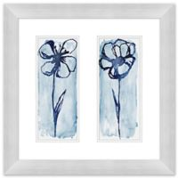 Blue Floral Diptych 24-Inch Square Canvas Wall Art