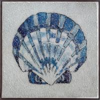 Mosaic Glass Shell 14-Inch Square Framed Canvas Wall Art