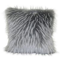 Faux Fur Feather Square Pillow in Grey