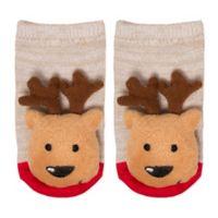 Cuddl Duds® Size 0-6M Reindeer Rattle Socks in Brown