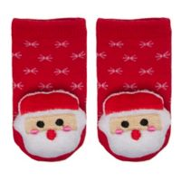 Cuddl Duds® Size 0-6M Santa Rattle Socks in Red