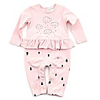 Kidding Around Size 3M Cloud and Raindrops Coverall in Pink