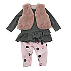 Kidding Around Newborn 3-Piece Pant Set with Faux Fur Vest in Pink