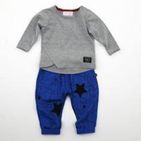 Kidding Around Newborn 2-Piece Star Shirt and Pant Set in Grey