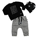 Kidding Around Size 9M 3-Piece Knit Shirt, Sweatpant, and Beanie Hat Set in Black