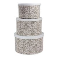Household Essentials® Scroll Hat Boxes in White/Olive (Set of 3)